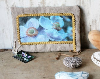 Kit pouch flowers Kit toiletry bag, case Tote, velvet and linen