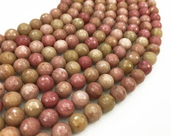 1Full Strand Rhodonite Faceted Beads, 8mm 10mm Pink Rhodonite Gemstone For Jewelry Making