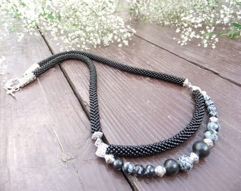 Necklace Crochet of beads Preciosа, Obsidian, beadcrochet technique
