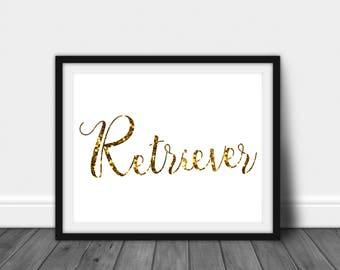 Golden Retriever: Dog Lovers Printable JPG, Poster, Instant Download
