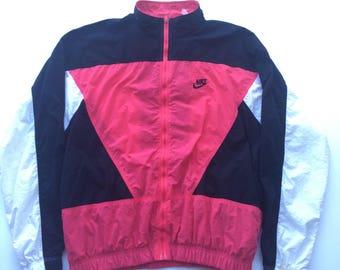 Vintage 90s Nike Air Windbreaker jacket bomber Size large black white dark pink