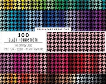 100 black houndstooth paper, Digital paper, Commercial use, houndstooth pattern, digital houndstooth paper, digital scrap booking paper
