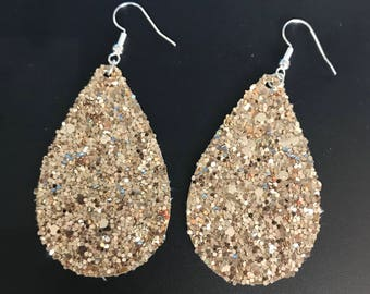 Gold Glitter Faux Leather Earrings