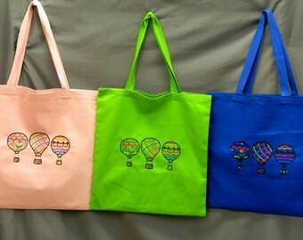 Hot Air Balloon Embroidery Design - Canvas Tote Bag - Blackwork Embroidered Design - Library Bag -  Grocery Bag - Shopping Bag - 3 Balloons