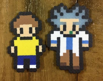 Rick and Morty perler bead magner set of 2 art decor nerdy geeky cartoon comic book character gift