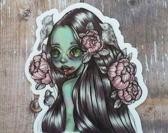 Zombie V2 - Halloween themed 3 inch Die Cut Weatherproof Vinyl Sticker /Decal from Drawlloween /Inktober 2017