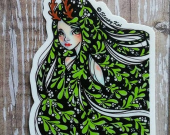Mistletoe - 3 Inch Die Cut Weatherproof Vinyl Sticker /Decal from my Lucid Dreaming Series. Planner laptop stationery Christmas gift bujo