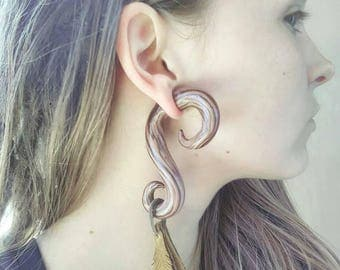 Faux wood Gauges All Sized piercing & styles »»leather feathers«« hanging plugs