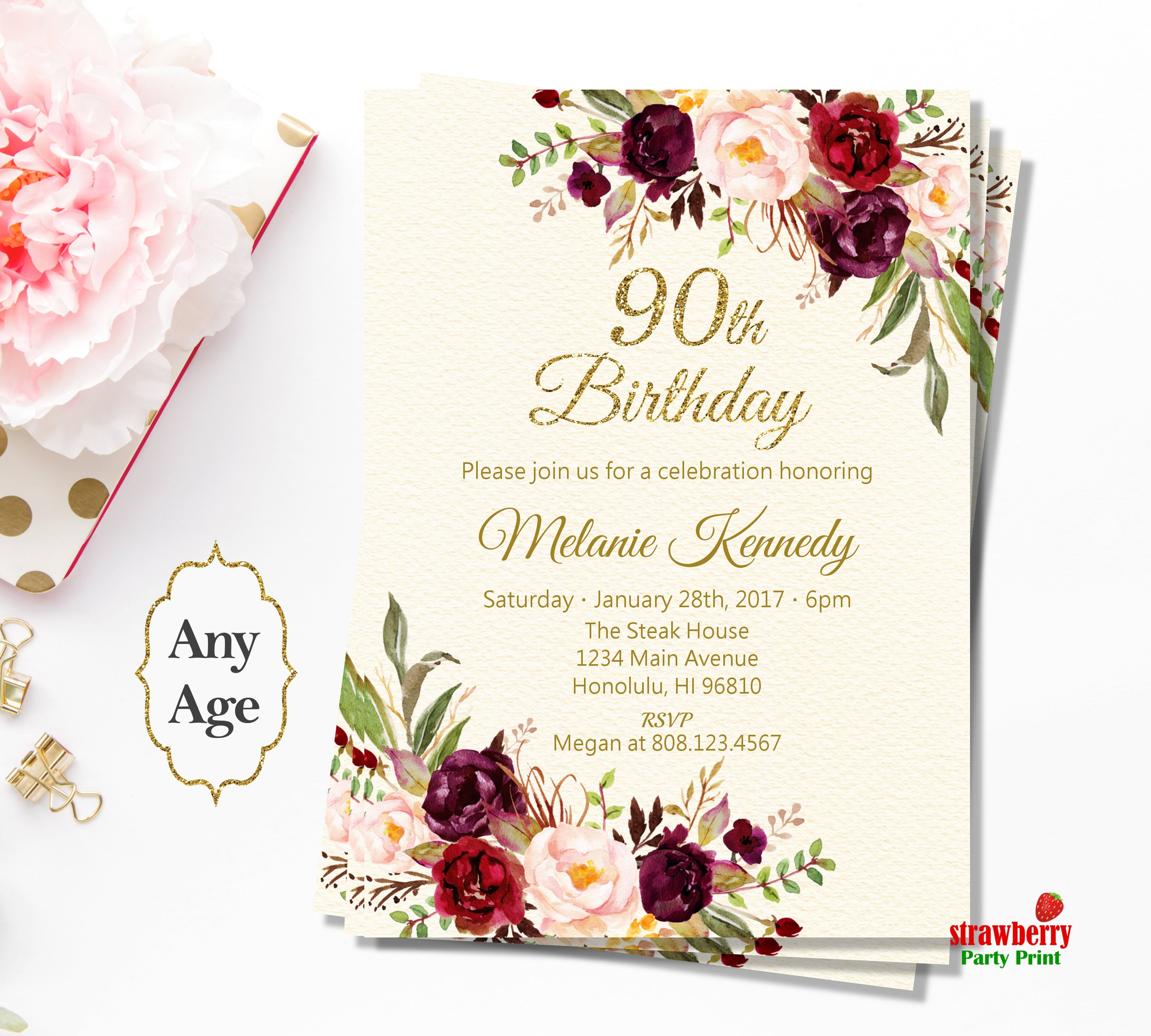 90th birthday invitations for women red floral birthday invitation 90th birthday invitations for women red floral birthday invitation boho birthday invitations gold filmwisefo