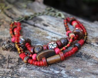 Chunky Traditional African Bracelet - Beaded Bracelet for Women - Tribal Jewelry - Rustic Bracelet - Primitive Jewelry