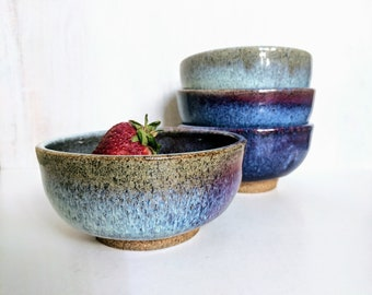 Purple Ceramic Bowls, Handmade Ice Cream Bowls, Rice Bowls, Noodle Bowls, Set of 4 Pottery Bowls, Stoneware Dinnerware Bowls, Set of 4
