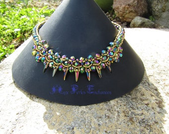 SPIKY SCARABEE IRIS necklace kit instructions and materials