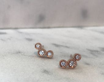 14K Rose Gold Diamond Bezel Studs, Rose Gold Diamond Stud Earrings, Pink Gold Diamond Earrings, Gold Diamond Stud Earrings, Diamond Earring
