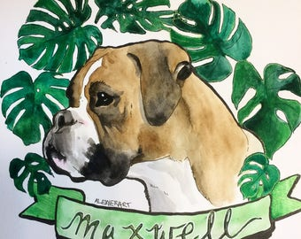 Pet Portrait with Monstera Leaf