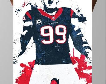 Fan art poster, JJ Watt, Houston Texans Poster, Wall art, Sports Poster, Fan art, Wall Art, Sports art, Sports Print, Kids Decor