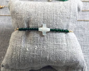 Gold plated, Jade and mother of Pearl - mother of Pearl Bracelet cross - stone semi precious Jade - Green Pearl - minimalist