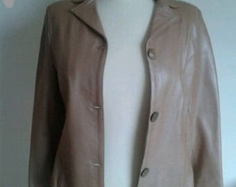 women genuine leather from the 2000s color camel Blazer