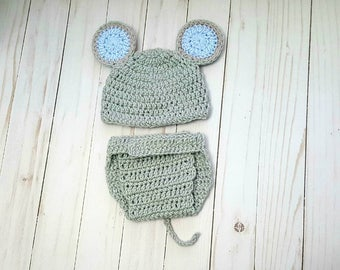 Mouse Baby Costume, Newborn Crochet Mouse Outfit, Baby Animal Outfit, Newborn Photo Prop, Baby Boy Clothes, Baby Girl Clothes, Shower Gift