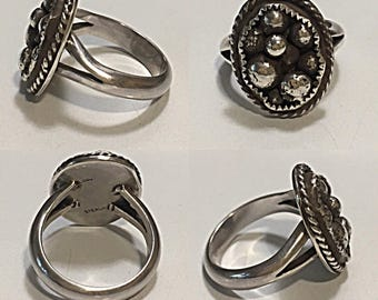 Silver Beaded Ring 6.75