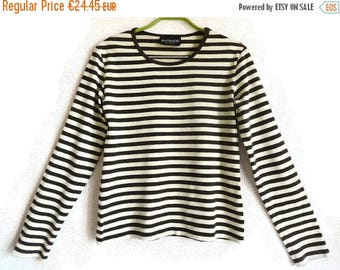 SALE 15% MARIMEKKO Brown & Ecru Striped Shirt Nautical Long Sleeves Top Cotton Shirt Women's Clothing Medium Size Shirt Sailor Shirt