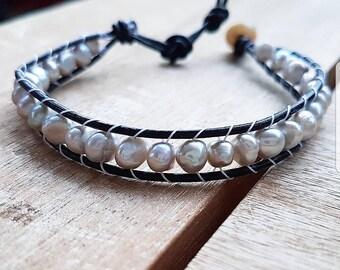 Seed Pearl Leather Bracelet