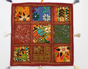 Handmade Hippie Gypsy Home Decor Ethnic Multi color Embroidered Hippy Patchwork Bohemian Pillow Shams Couch Cushion Cover Case G761