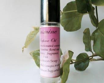 Jasmine Perfume Oil in Organic Jojoba - with Natural Jasmine Sambac Floral Wax - Handmade Roll On Perfume - Fragrance - Scent