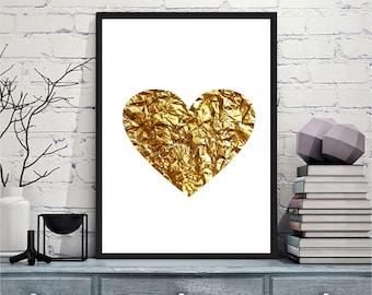 Printable art Digital Prints gold heart modern wall art printable art, printable prints