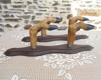 Pair of Vintage French Deer Hooves Gun Racks - Coat Racks