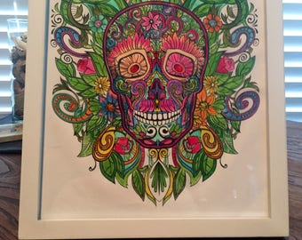 TATTOO COLLECTION Wall art/Decor  *Floral Skull Design* with COSTUMIZED frame color