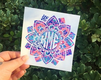 Mandala monogram decal, Lilly pulitzer mandala, Patterned monograms, Yeti tumbler monograms, yeti decals for women, monogram car decals