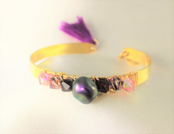 Bangle Bracelet swarovski Pearl-like swarovski crystals and freshwater pearls