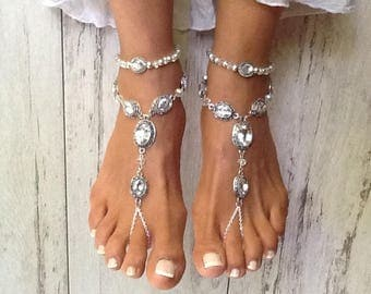 Odessa Barefoot Sandal, Barefoot Sandals, Barefoot Sandals for a Beach Wedding, Beach Wedding Barefoot Sandals, Foot Jewelry, Beach Sandals
