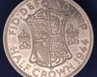 GENUINE 1944 George VI KGVI 50% Silver Half Crown  2/6 excellent coin *[11882]