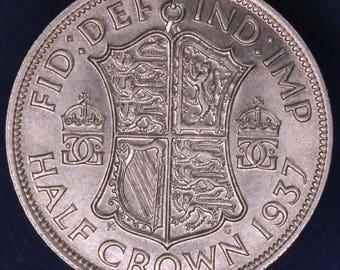 GENUINE 1937 George VI KGVI 50% Silver Half Crown  2/6 excellent coin *[11883]