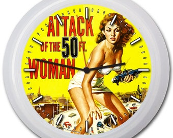 "Sci-Fi ""Attack of the 50 ft Woman!"" 9"" Wall Clock w/FREE battery!"