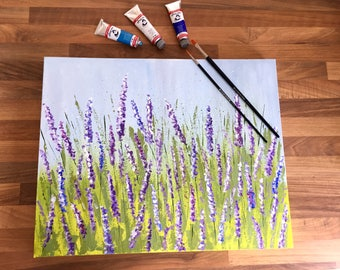 Lavender Field - Hand-painted Acrylic Canvas