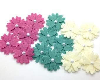 15 pcs Felt Flowers, Wool Felt Flowers, Mini Felt Flower Set.