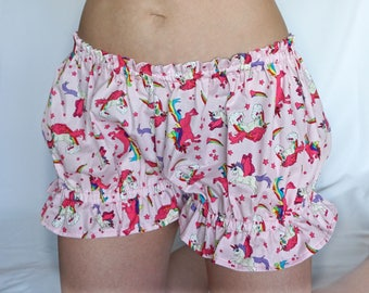 Cute Unicorn Bloomers - Adult Bloomers - DDlg - DDlg Panties - Lolita - Baby Pink Rainbow Unicorns - Sissy Lingerie - Sissy Boy - Low Rise