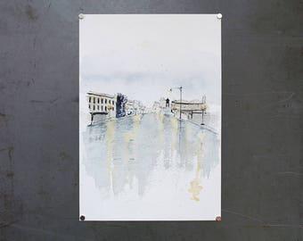 watercolor original painting | rainy street