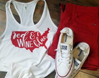 4th of July Tank Top - Red Wine And Blue Shirt - Woman's 4th of July Shirt - Cute 4th of July Tank Top