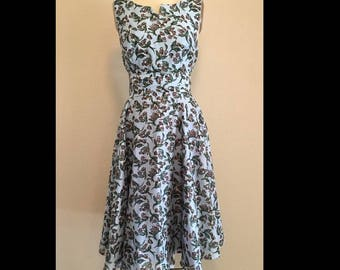 Floral print 60s dress/midi dress/retro dress/ circle skirt