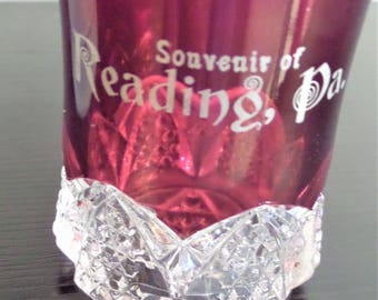 Ruby Red Flash Glass Tumbler Souvenir of Reading, PA Berks County Pa ruby Red Glass Pressed Glass Souvenir
