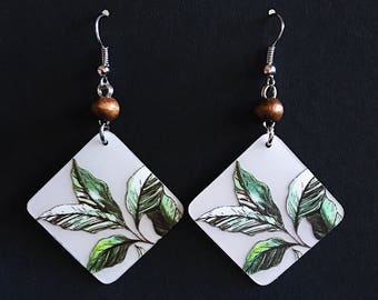 Upcycled Card Earrings - Leaves + Wooden Beads