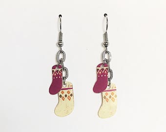 Upcycled Card Earrings - Stockings