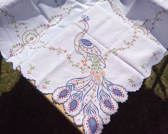 "Absolutely Stunning Vintage 1950s hand embroidery linen tablecloth 50""x48"" rectanglefloral tablecloth-floral-afternoon tea party anyone?"