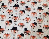 Gentleman fox print 100 % cotton poplin  X 50 cm