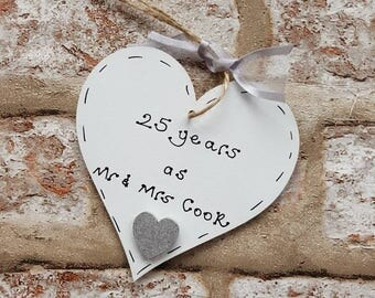 Personalised 25th wedding anniversary gift present for silver wedding anniversary handmade wooden heart