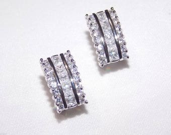Classic Bridal Wedding Silver Clear Cubic Zirconia French Clip Earrings