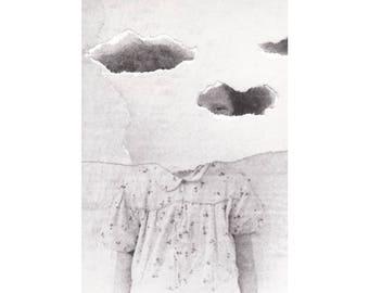 Paper collage art print, Surreal portrait, Girl, Sky, Clouds, Black and white, Paper art, Handmade collage, Original artwork, Mystical art
